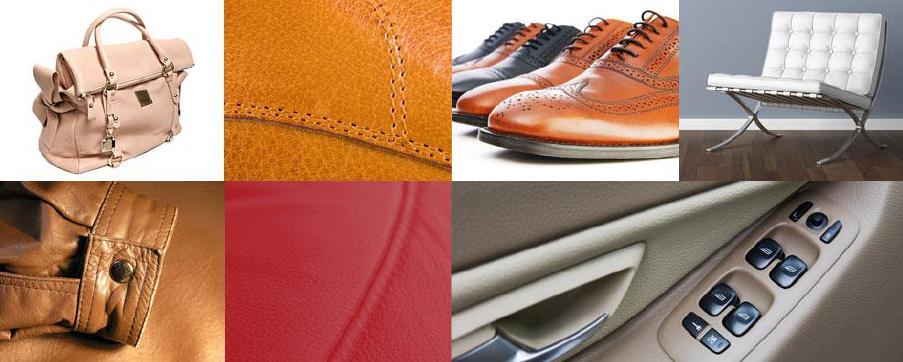 Auswahl an verschiedenen Produkten mit Leder.